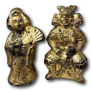 Vintage Hand Painted Gold Ceramic Geisha & Warrior